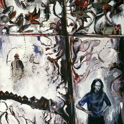 Stairway II, 1999 38x30 oil,collage